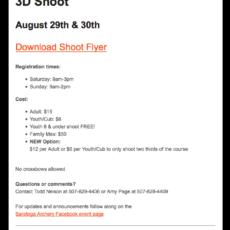 Saratoga Archery Club Event Email